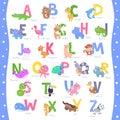 Cute animal alphabet A-Z