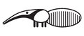 Cute animal anteater illustration simple black and white for logo Royalty Free Stock Images