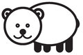 Cute animal bear illustration simple black and white for icon Stock Photography
