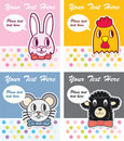 Cute animal card Stock Images