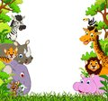 Cute animal cartoon with tropical forest background illustration of Royalty Free Stock Photography