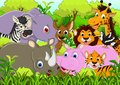 Cute animal cartoon with tropical forest background illustration of Stock Image