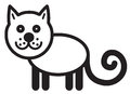 Cute animal cat illustration simple black and white for icon Royalty Free Stock Image
