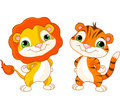 Cute animal characters lion and tiger Royalty Free Stock Images