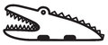 Cute animal crocodile illustration simple black and white for icon Royalty Free Stock Photos