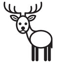 Cute animal deer illustration simple black and white for logo Royalty Free Stock Photos