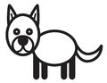 Cute animal dog illustration simple black and white for icon Stock Image