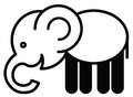 Cute animal elephant illustration simple black and white for icon Stock Photography