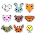 Cute animal faces set Stock Photo