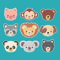 Cute animal faces stickers set -vector eps8