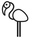 Cute animal flamingo illustration simple black and white for logo Stock Photo