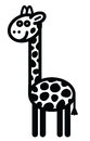 Cute animal giraffe illustration simple black and white for logo Stock Image