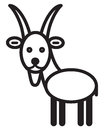 Cute animal goat illustration simple black and white for icon Royalty Free Stock Photo