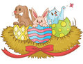 Cute animal hatching easters eggs create vector Royalty Free Stock Images
