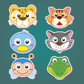 Cute animal head icon six cartoon icons Stock Photo