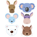 Cute animal head icon03 Stock Photos