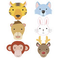 Cute animal head icon06 Stock Images