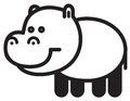 Cute animal hippopotamus illustration simple black and white for logo Stock Photography