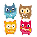 Cute animal icon illustration family owl Royalty Free Stock Photo