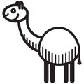 Cute animal lama illustration simple black and white for logo Stock Image