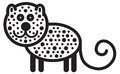 Cute animal leopard illustration simple black and white for logo Royalty Free Stock Image