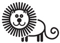 Cute animal lion illustration simple black and white for logo Stock Images