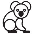 Cute animal loala illustration simple black and white koala for logo Royalty Free Stock Images