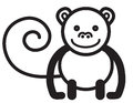 Cute animal monkey illustration simple black and white for logo Royalty Free Stock Images