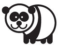 Cute animal panda illustration simple black and white for logo Stock Photography
