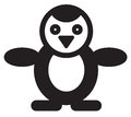 Cute animal penguin illustration simple black and white for logo Royalty Free Stock Photos