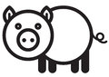 Cute animal pig illustration simple black and white for logo Stock Photos