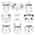 Cute animal portraits doodles Royalty Free Stock Photo