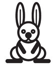 Cute animal rabbit illustration simple black and white for logo Stock Photo