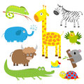 Cute animal set. Baby background. Koala, alligator, giraffe, iguana, zebra, yak, turtle, elephant, duck and parrot. Flat design Royalty Free Stock Photo
