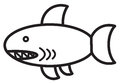 Cute animal shark illustration simple black and white for logo Royalty Free Stock Image