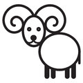 Cute animal sheep illustration simple black and white for logo Stock Photos