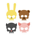 Cute animal skulls. Bear and pig. Head skeleton rabbit and cat. Royalty Free Stock Photo