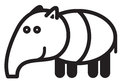 Cute animal tapir illustration simple black and white for logo Royalty Free Stock Image