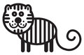 Cute animal tiger illustration simple black and white for logo Royalty Free Stock Images