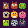 Cute Animal Vector Illustration Icon Set Royalty Free Stock Photo