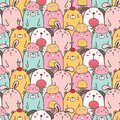 Cute Animal Vector Pattern Background. Fun Doodle.