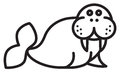 Cute animal walrus illustration simple black and white for logo Royalty Free Stock Photo