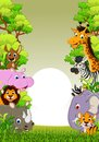 Cute animal wildlife cartoon with forest background illustration of Royalty Free Stock Photo