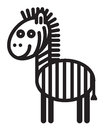 Cute animal zebra illustration simple black and white zwbra for logo Stock Image