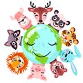Cute animals around globe banner vector illustration. Animals planet concept, world continents fauna, world map with wild animals.