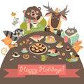 Cute animals celebrating holidays