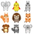 Cute animals. Children style, design elements, vector. Cartoon kawaii wildlife and farm animals