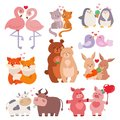 Cute animals couples in love collection happy valentines day loving cartoon characters together nature wildlife vector