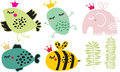 Cute animals in crown set vector illustration Stock Photos