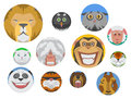 Cute animals emotions icons fun set face happy character emoji comic adorable pet and expression smile